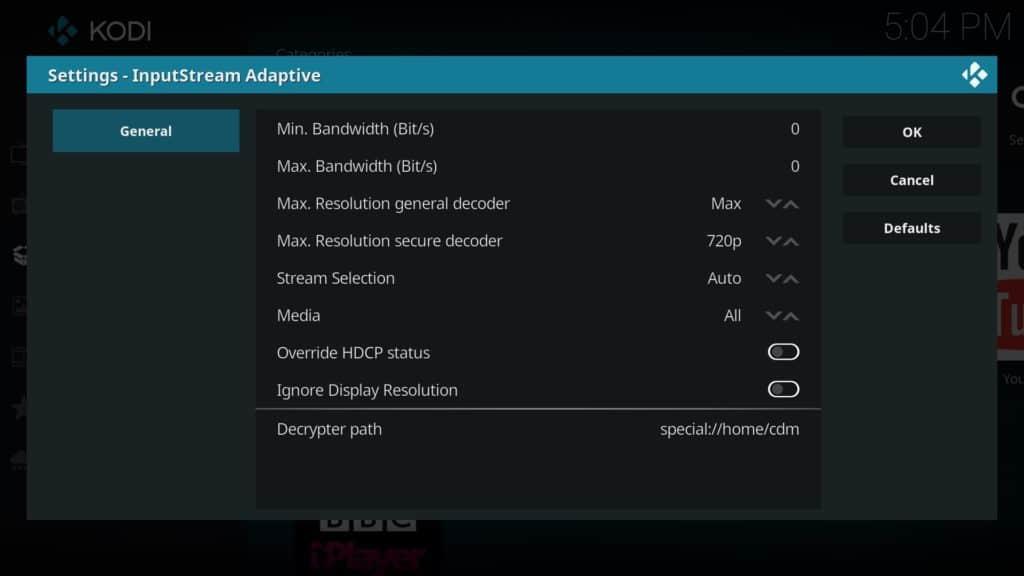 netflix addon input stream settings